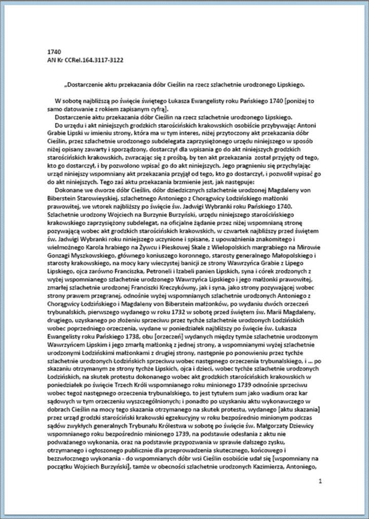 Dostarczenie aktu przekazania dóbr Cieślin na rzecz szlachetnie urodzonego Lipskiego 22.10.1740 r. (1)