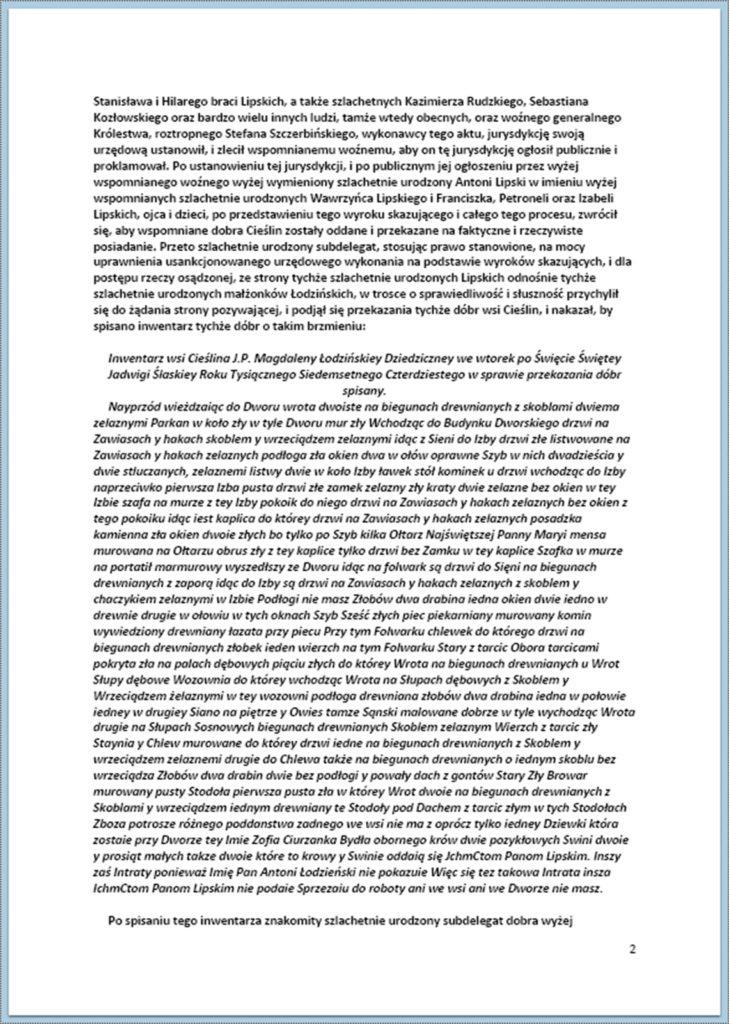 Dostarczenie aktu przekazania dóbr Cieślin na rzecz szlachetnie urodzonego Lipskiego 22.10.1740 r. (2)