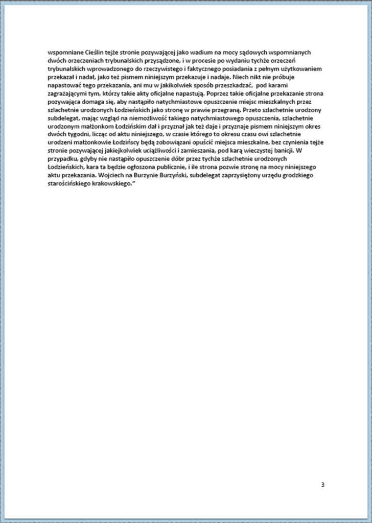 Dostarczenie aktu przekazania dóbr Cieślin na rzecz szlachetnie urodzonego Lipskiego 22.10.1740 r. (3)