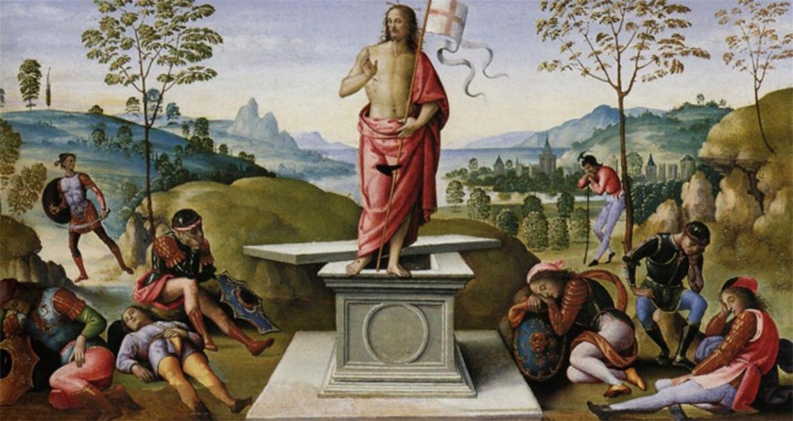 """""""Zmartwychwstanie"""" - obraz Pietro Perugino ze zbiorów Muzeum Sztuk Pięknych w Rouen (1495)"""