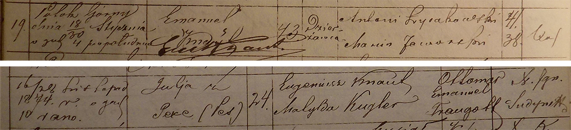 Akt metrykalny chrztu Ottomar Emanuel Traugott Knaut ur. 16/28.11.1874 r.