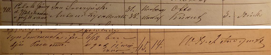 Akt metrykalny zgonu Otto Knaut 06/18.03.1874 r.