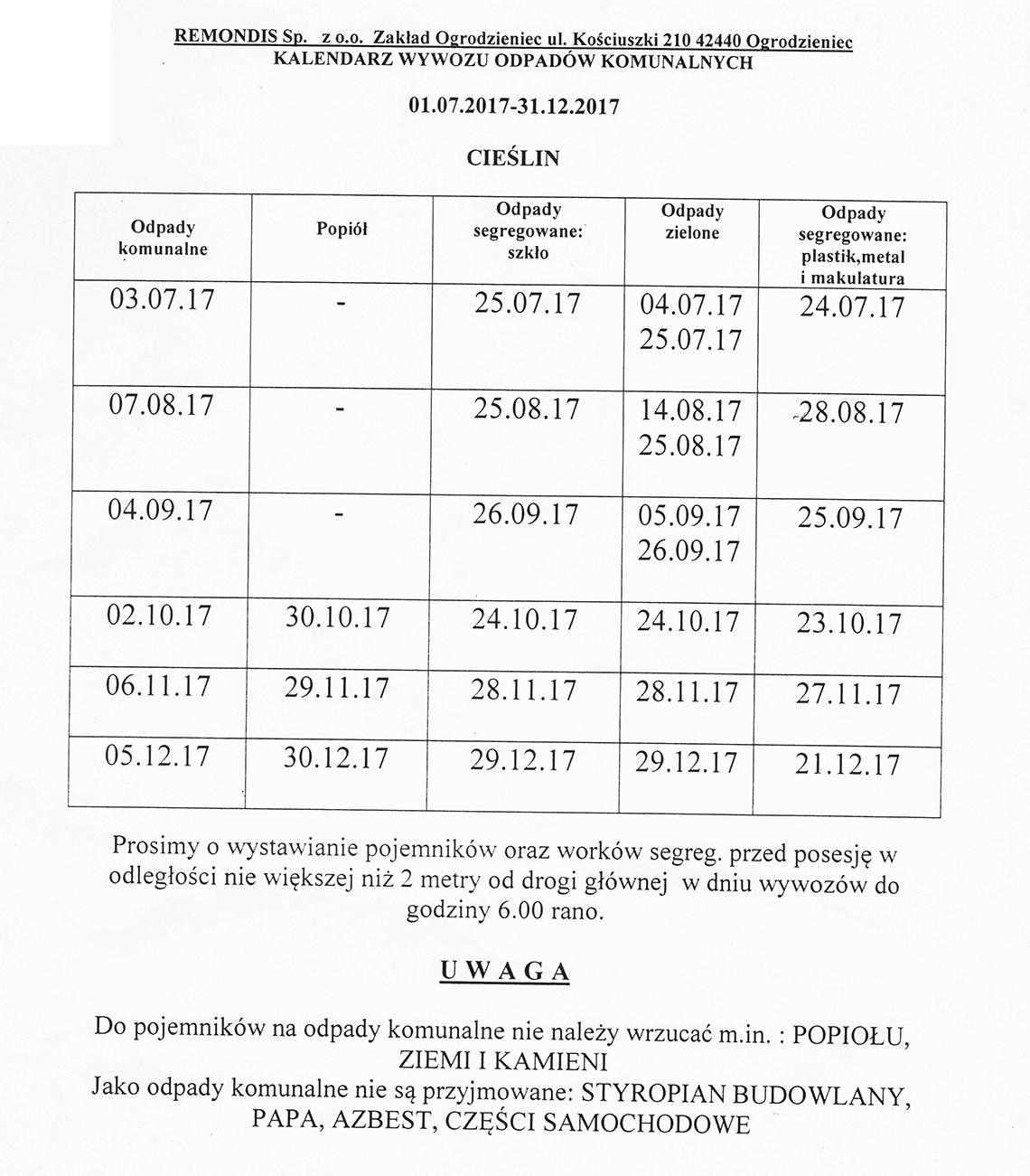 Harmonogram wywozu odpadów komunalnych 01.07.2017 - 31.12.2017
