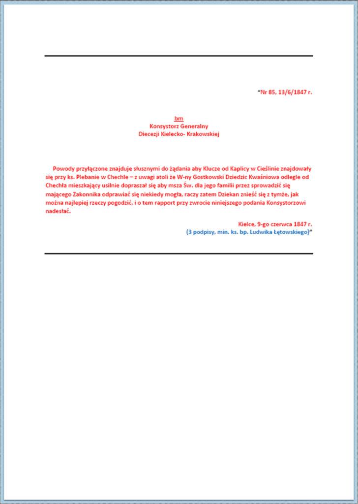 Sprawa kluczy do kaplicy w Cieślinie (korespondencja z okresu maj - październik 1847 r.) (4)