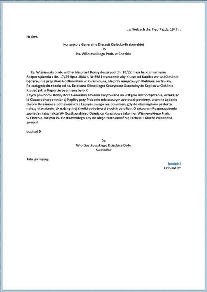 Sprawa kluczy do kaplicy w Cieślinie (korespondencja z okresu maj - październik 1847 r.) (7)