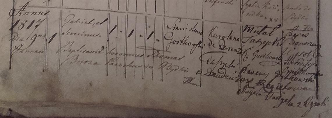 Akt metrykalny chrztu Gabriel Seweryn Gostkowski ur. 09.01.1817 r.