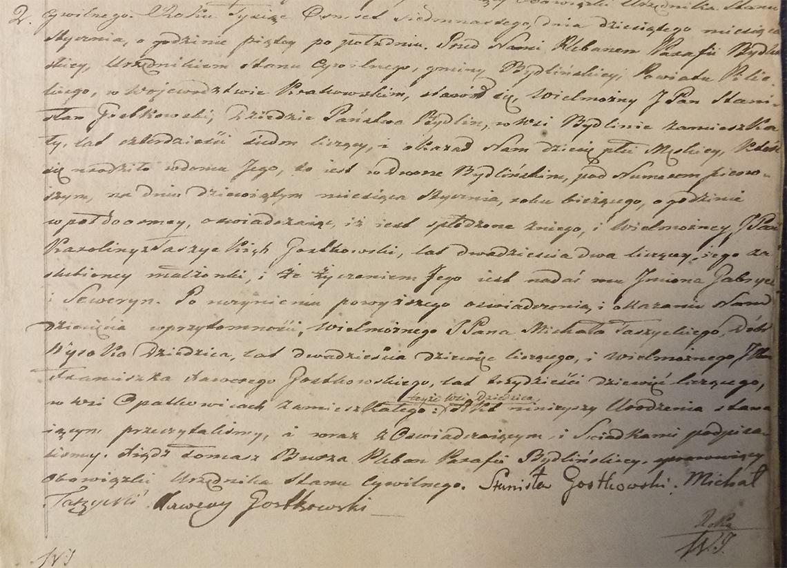 Akt stanu cywilnego urodzenia Gabryel Seweryn Gostkowski ur. 09.01.1817 r.