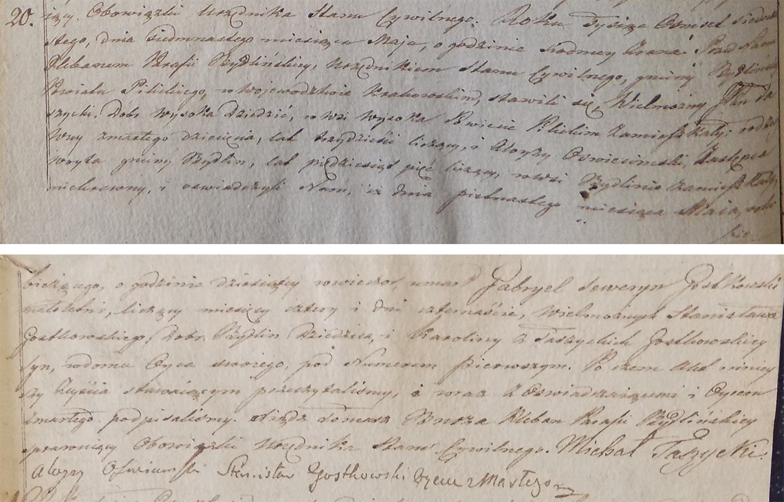 Akt stanu cywilnego zgonu Gabryela Seweryna Gostkowskiego 15.05.1817 r.