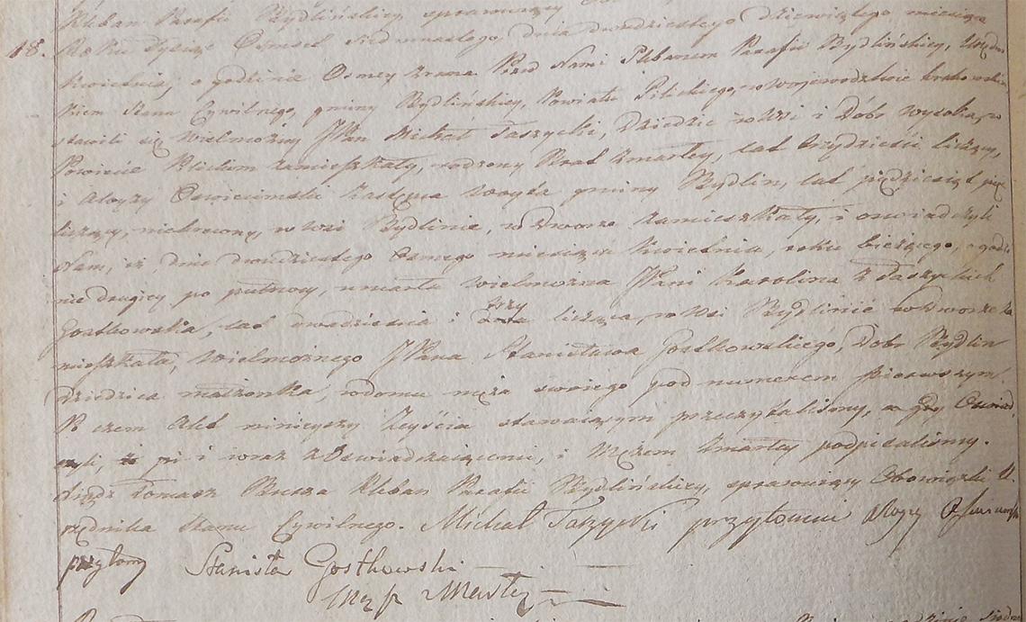 Akt stanu cywilnego zgonu Karoliny z Taszyckich Gostkowskiej 28.04.1817 r.