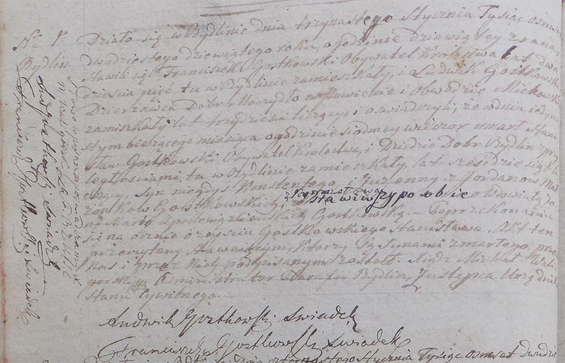 Akt stanu cywilnego zgonu Stanisław Gostkowski 11.01.1829 r.