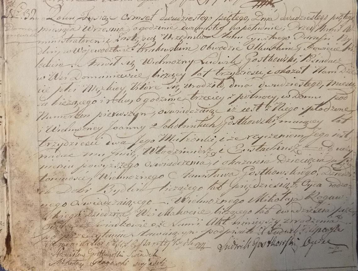Akt stanu cywilnego urodzenia Włodzimierz Eustachiusz Gostkowski 20.09.1825 r.