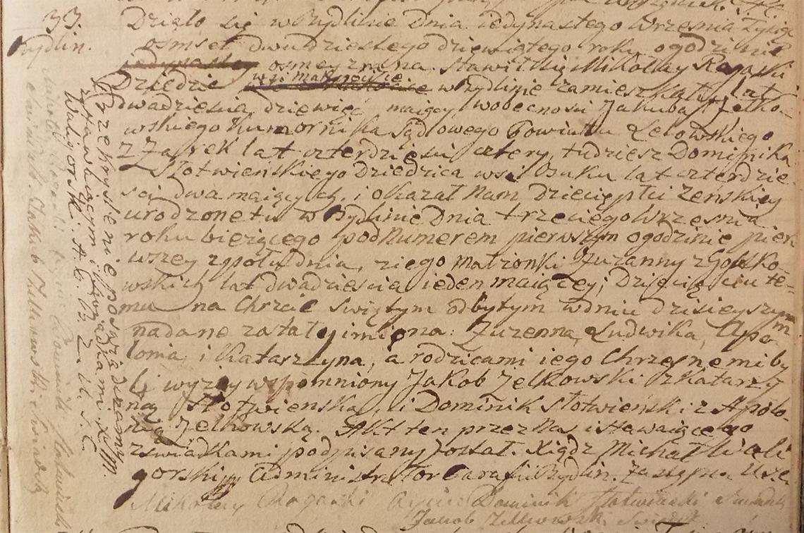Akt stanu cywilnego urodzenia Zuzanna Ludwika Apolonia Katarzyna Rogaska ur. 03.09.1829 r.