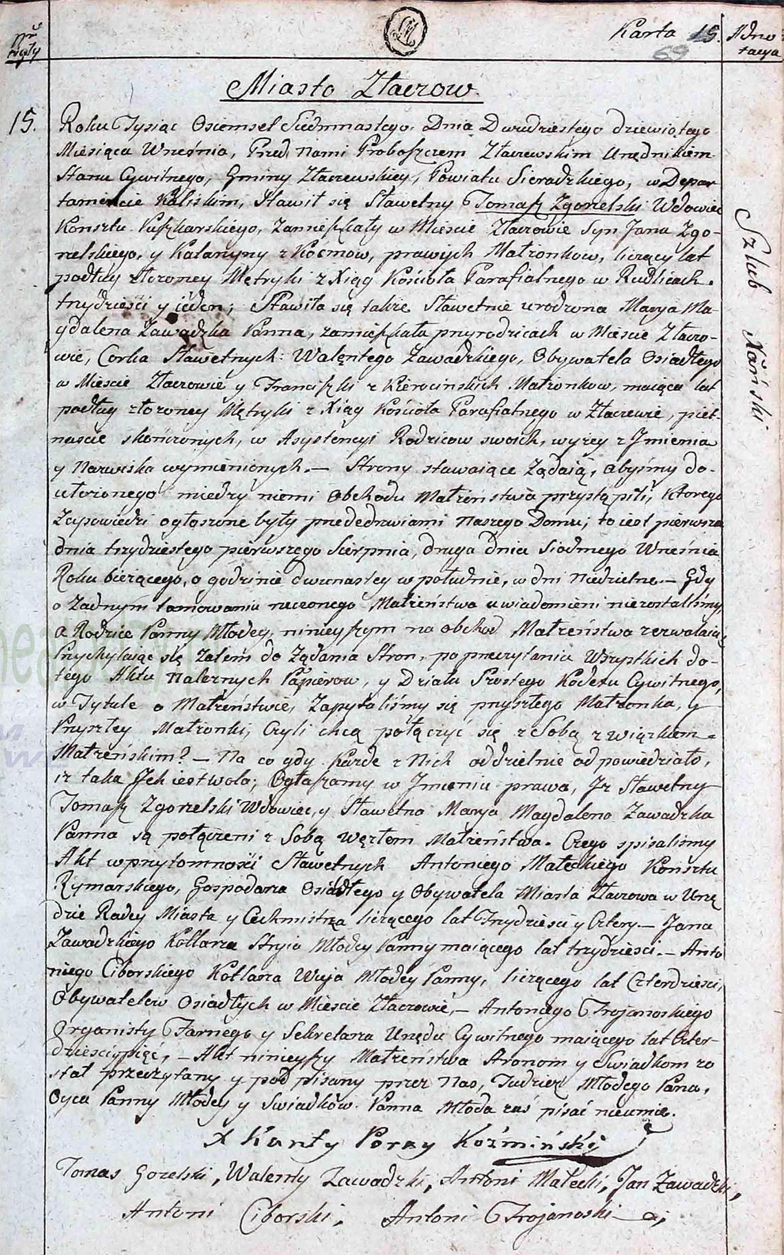 Akt stanu cywilnego małżeństwa Tomasz Zgorzelski & Marya Magdalena Zawadzka 29.09.1817 r.