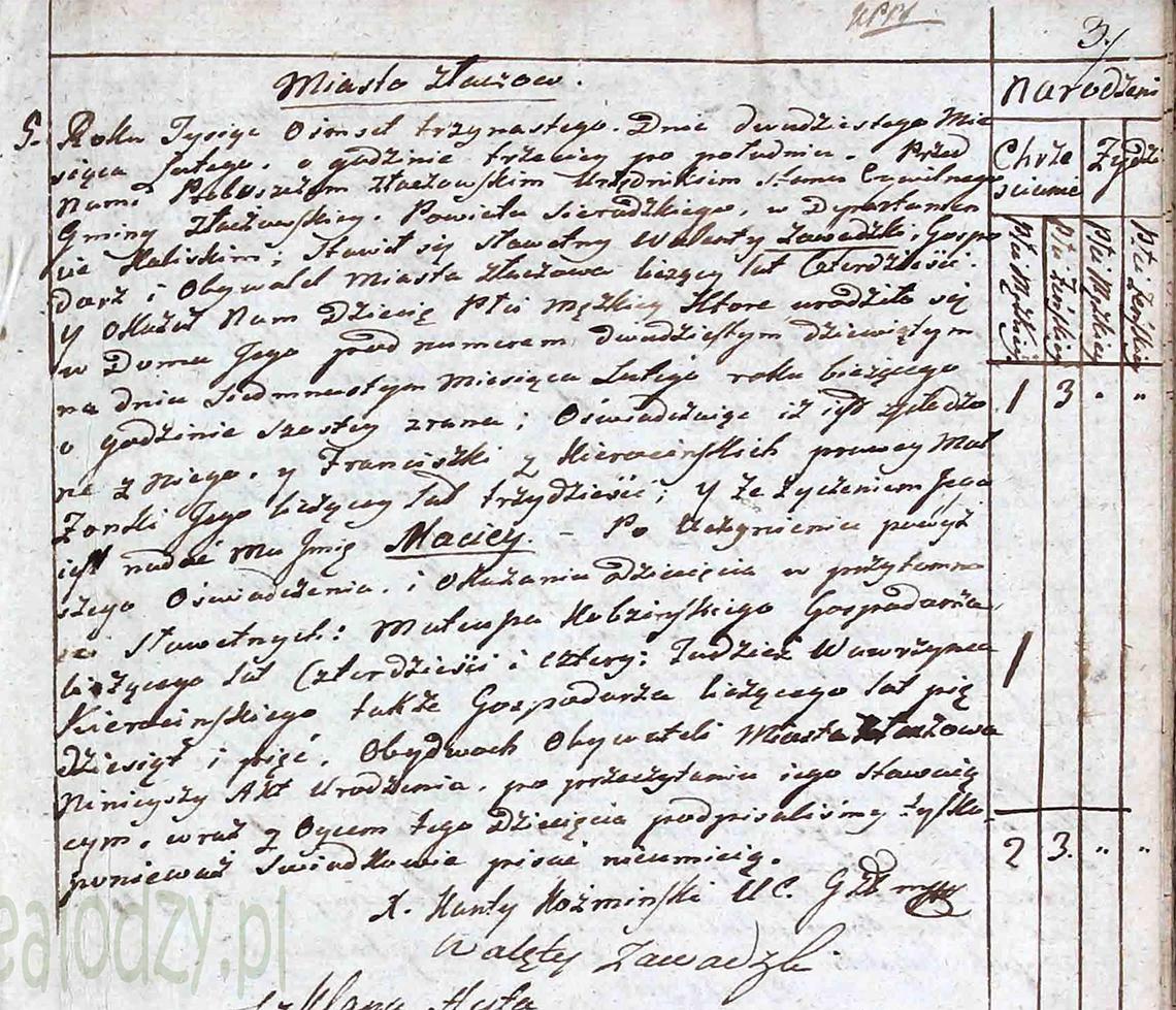 Akt stanu cywilnego urodzenia Maciey Zawadzki 17.02.1813 r.