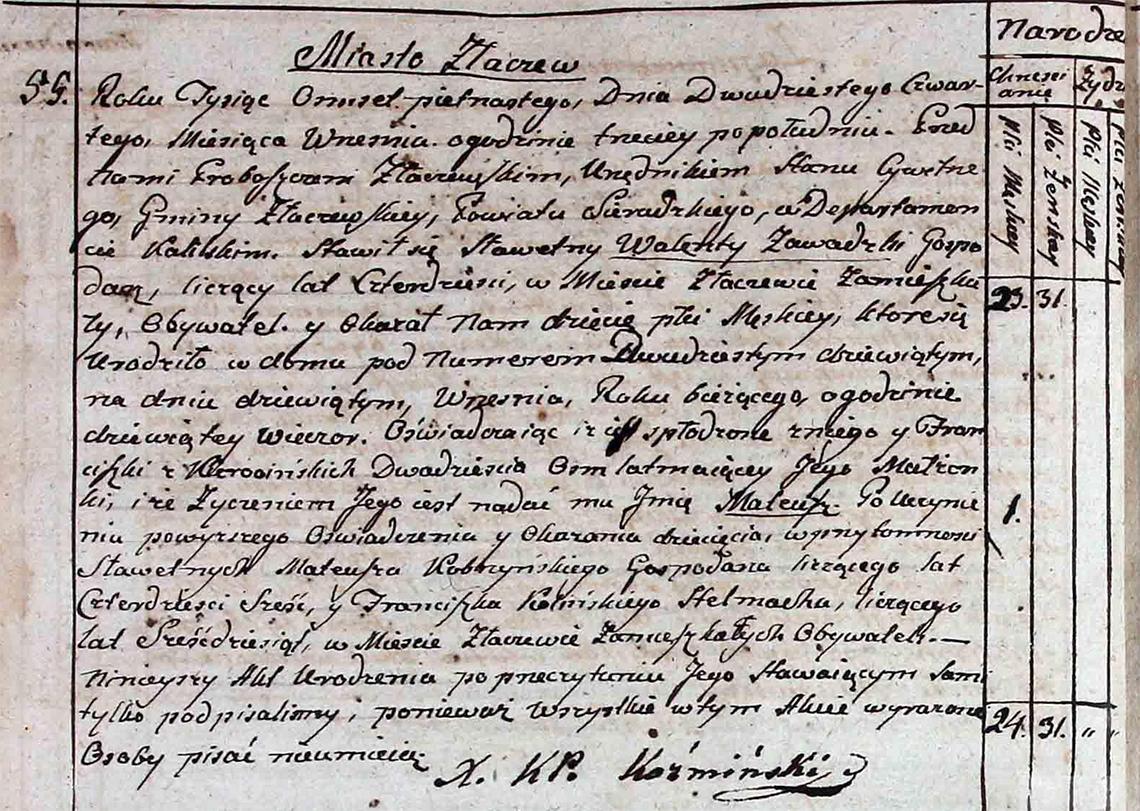 Akt stanu cywilnego urodzenia Mateusz Zawadzki ur. 09.09.1815 r.