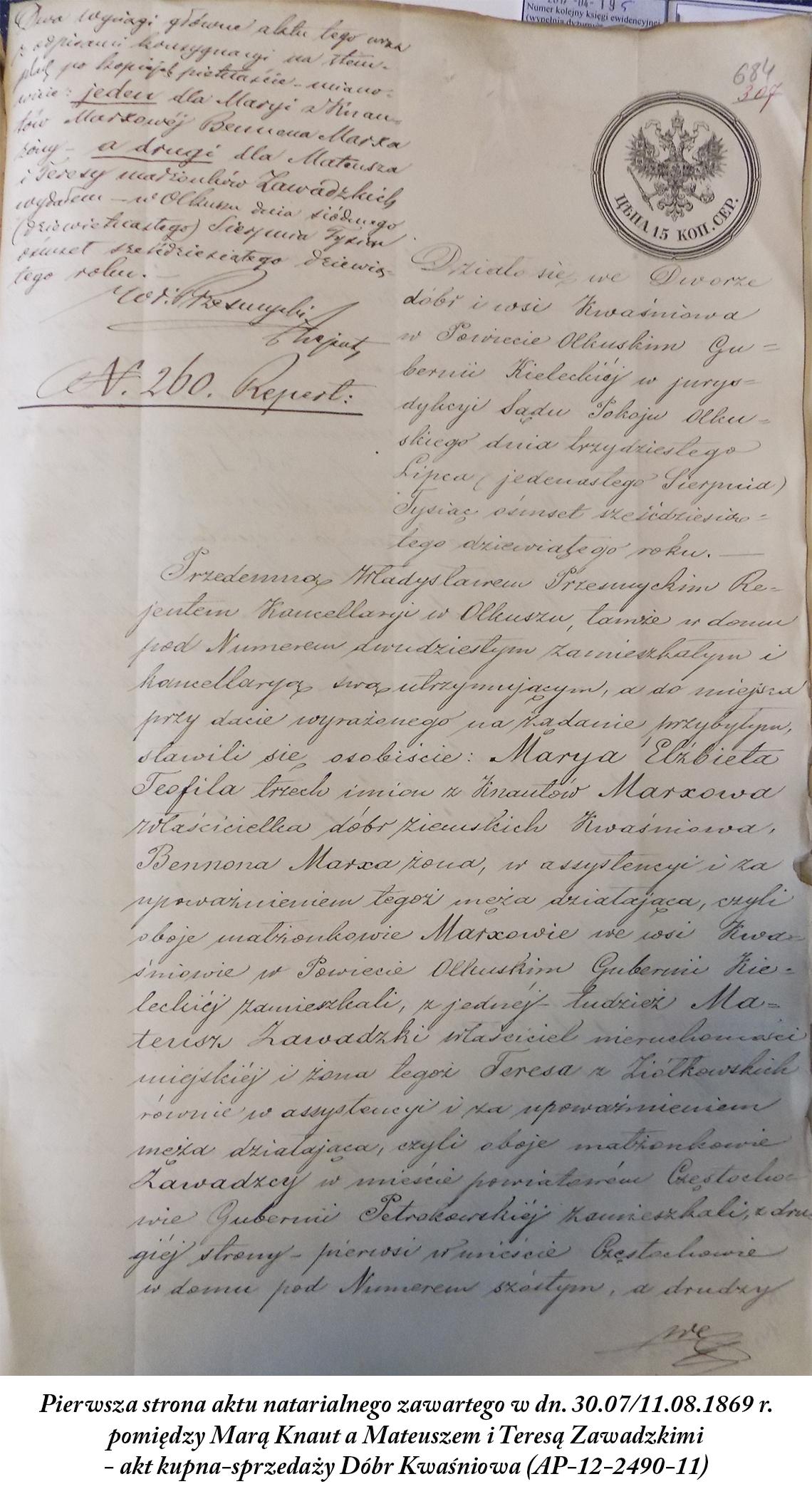 Maria Knaut & Mateusz i Teresa Zawadzcy - akt sprzedaży Dóbr Kwaśniowa 1869 r.