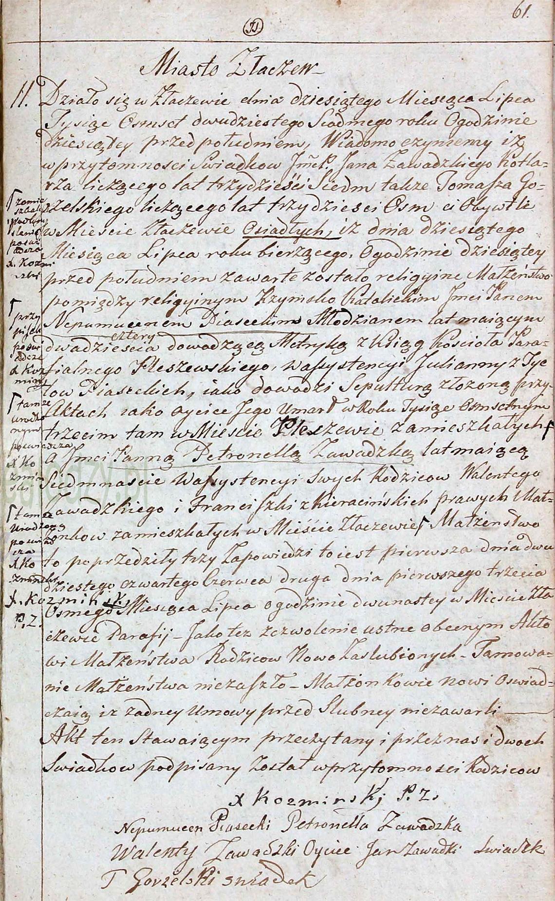 Akt stanu cywilnego małżeństwa Jan Nepomucen Piasecki & Petronella Zawadzka 10.07.1827 r.