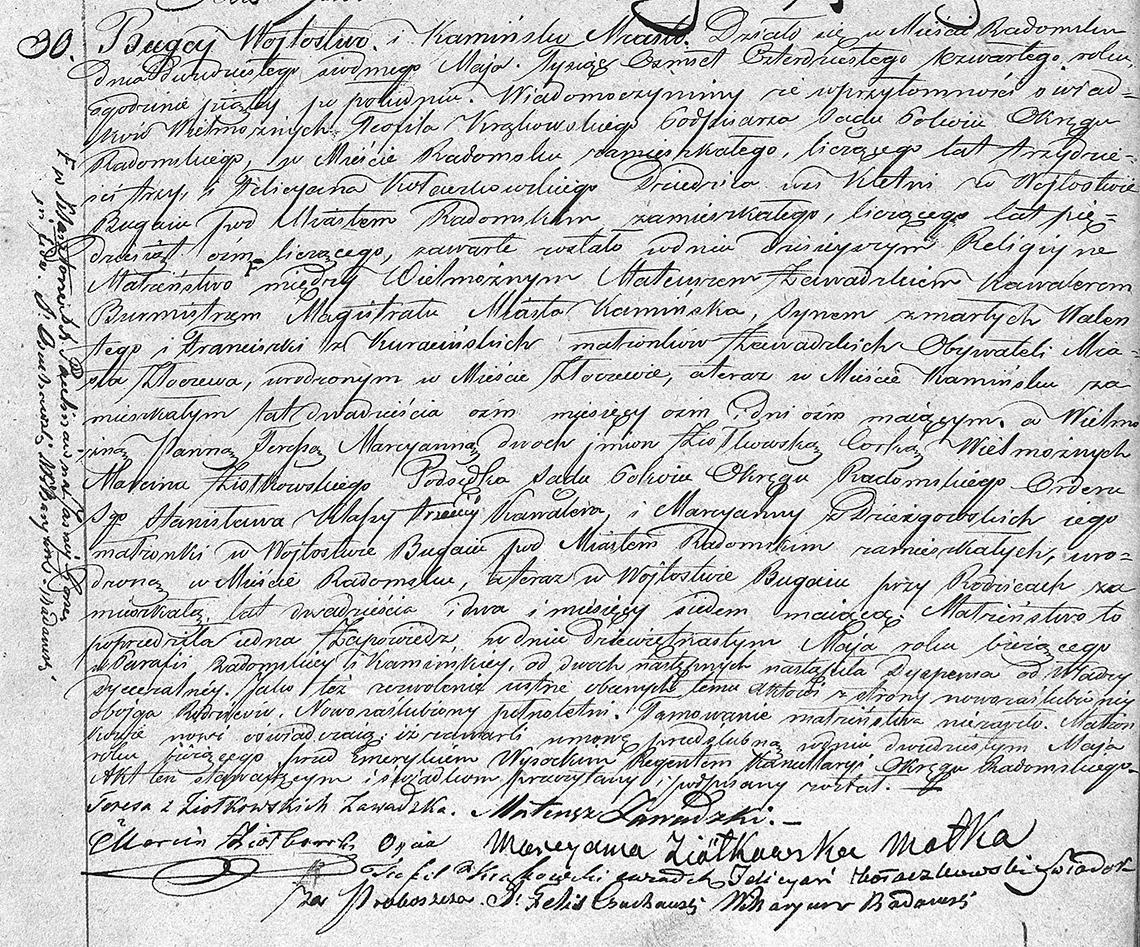 Akt stanu cywilnego małżeństwa Mateusz Zawadzki & Teresa Marcyanna Ziółkowska 27.05.1844 r.