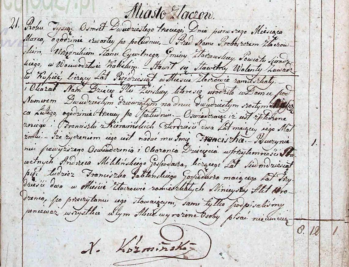 Akt stanu cywilnego urodzenia Franciszka Zawadzka 26.02.1823 r.