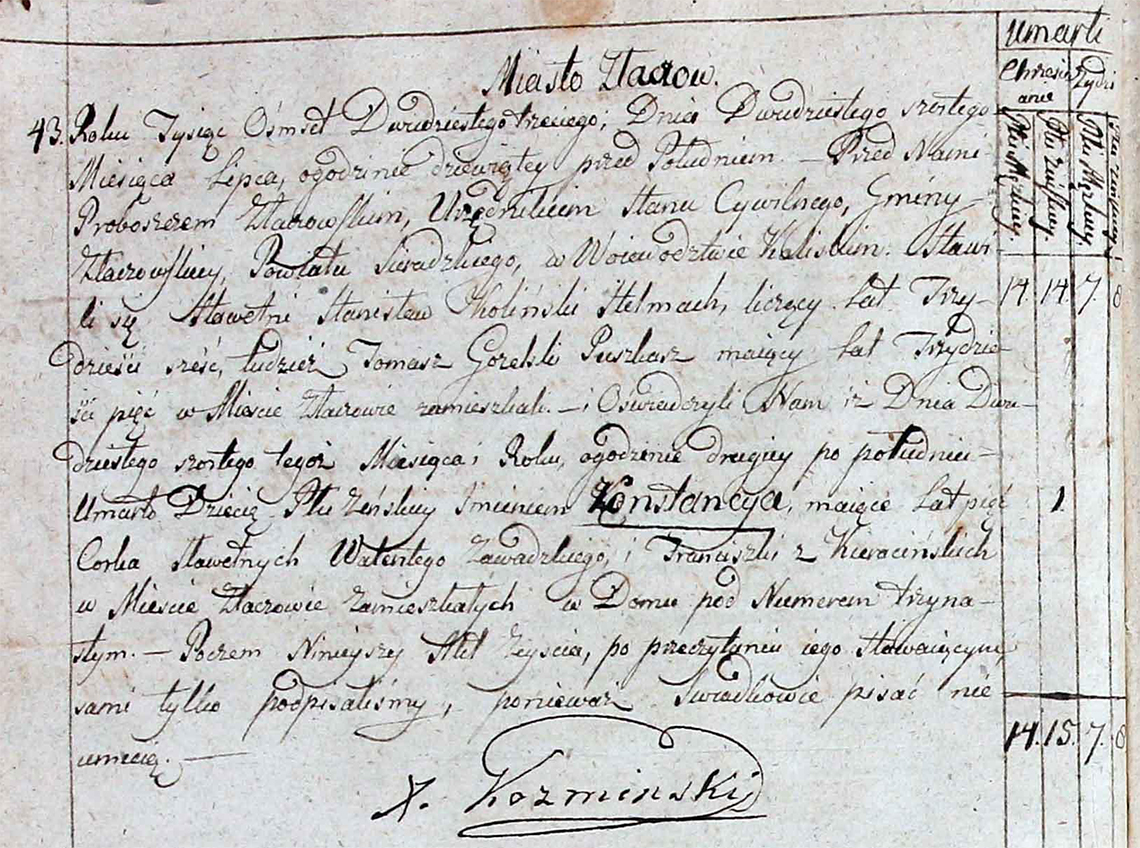 Akt stanu cywilnego zgonu Konstancya Zawadzka 26.07.1823 r.