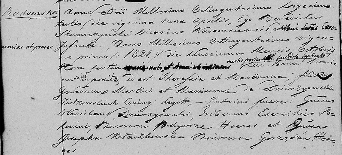 Akt metrykalny chrztu Teressa Marcyanna Ziółkowska ur. 11.10.1821 r.