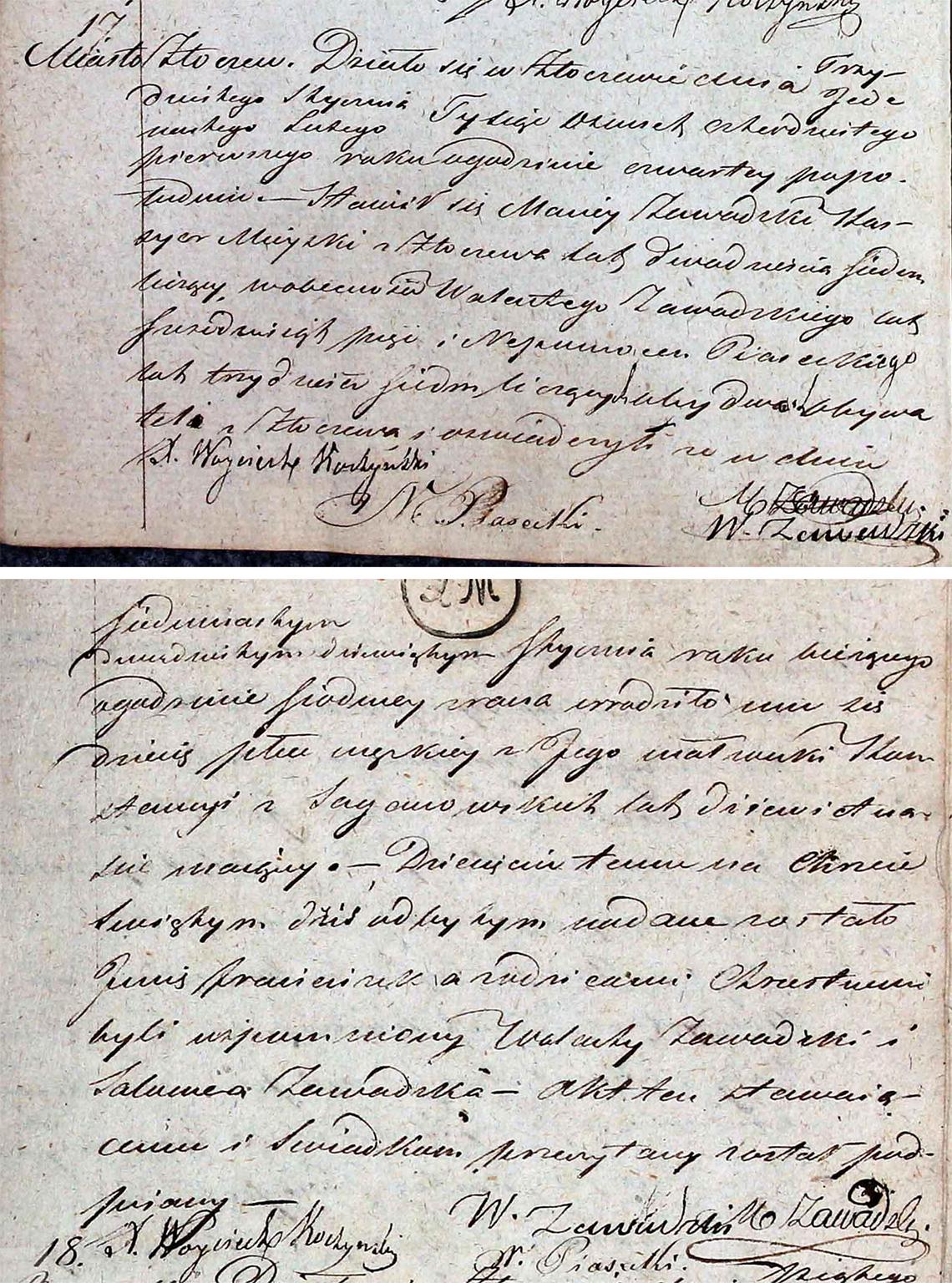 Akt stanu cywilnego urodzenia Franciszek Zawadzki 17-29.01.1841 r.