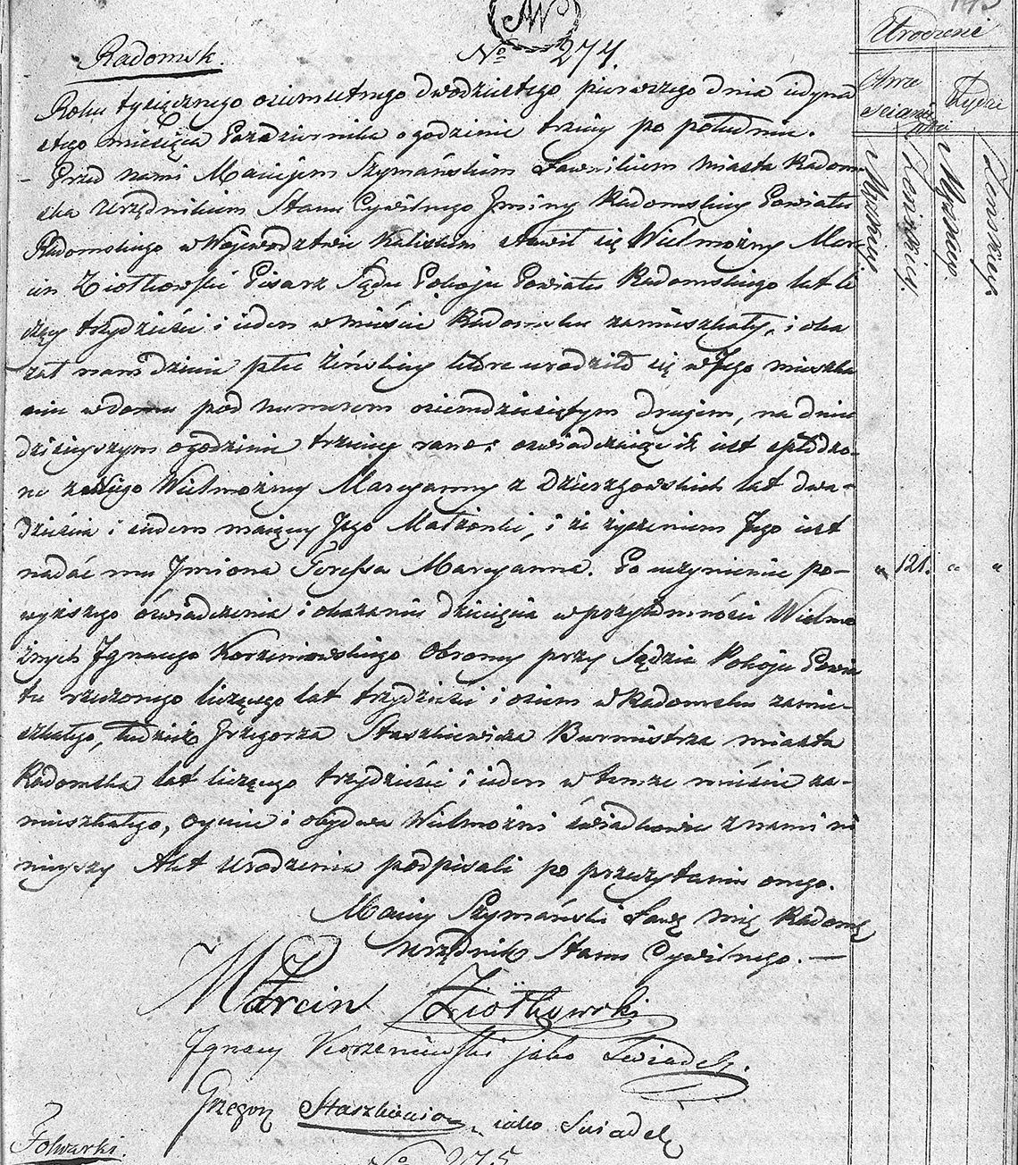 Akt stanu cywilnego urodzenia Teressa Marcyanna Ziółkowska 11.10.1821 r.