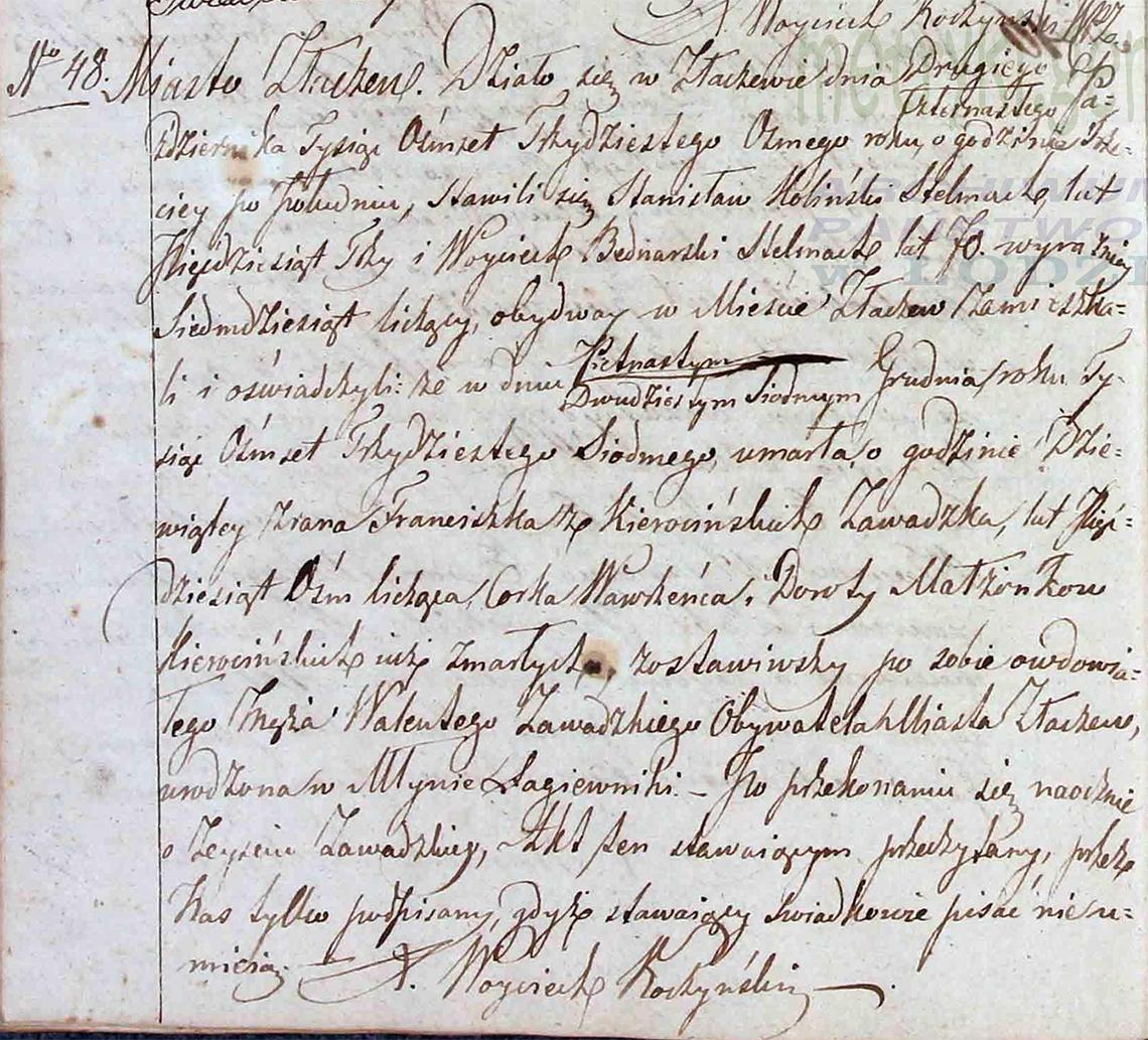Akt stanu cywilnego zgonu Franciszka z Kierocińskich Zawadzka 15/27.12.1837 r.