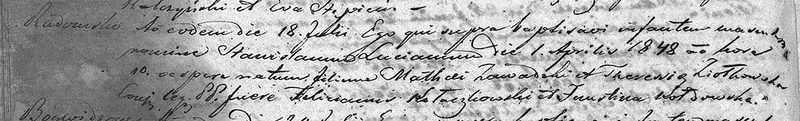 Akt metrykalny chrztu Stanisław Lucjan Zawadzki ur. 01.04.1848 r. (chrzest 18.07.1852 r.)