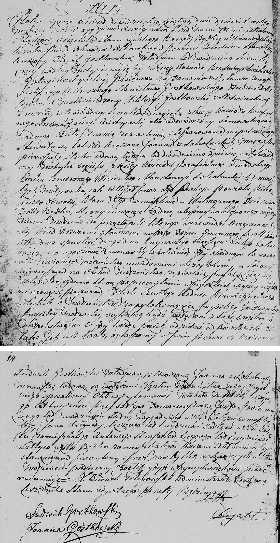 Akt stanu cywilnego małżeństwa Ludwik Gostkowski & Joanna z Sokolnickich Morawska 19.03.1825 r.