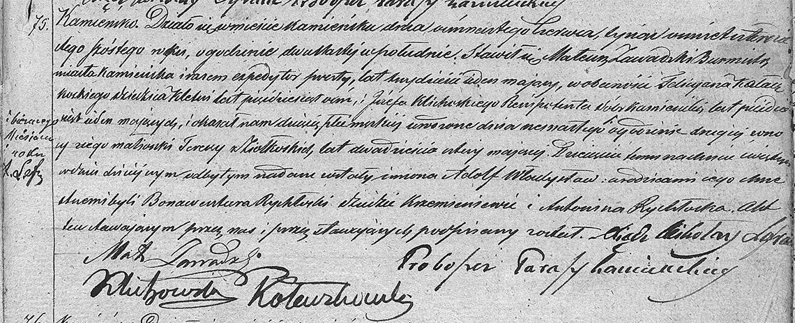 Akt stanu cywilnego urodzenia Adolf Władysław Zawadzki 16.06.1846 r.