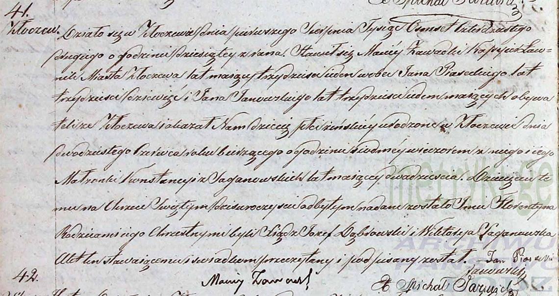 Akt stanu cywilnego urodzenia Florentyna Zawadzka 20.06.1842 r.