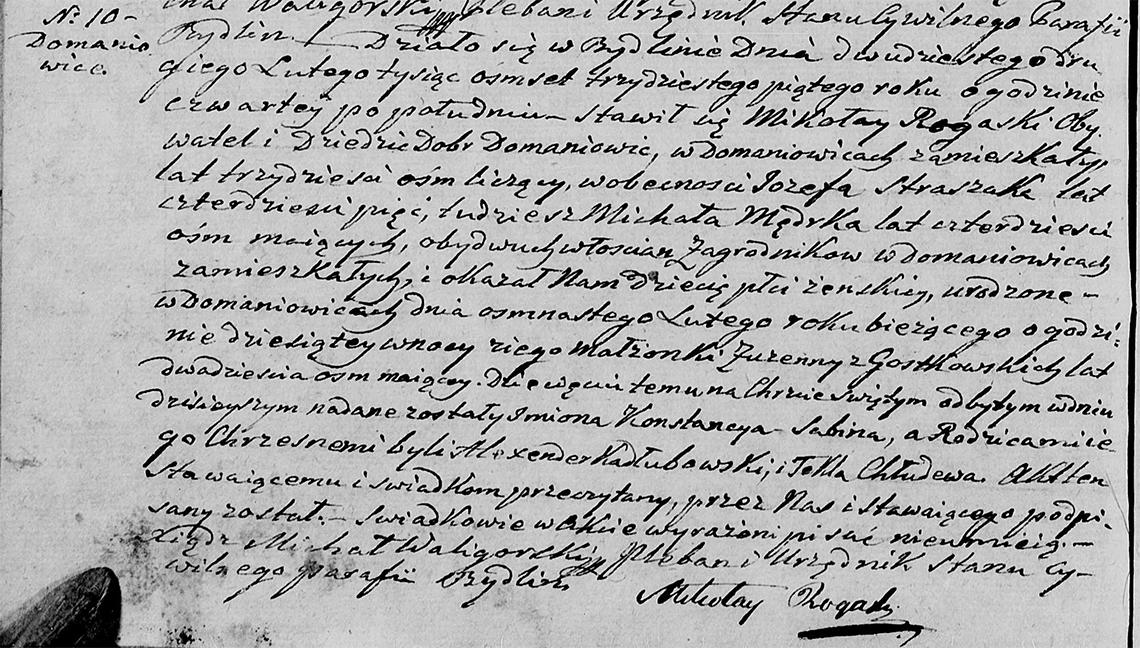 Akt stanu cywilnego urodzenia Konstancya Sabina Rogaska 18.02.1835 r.