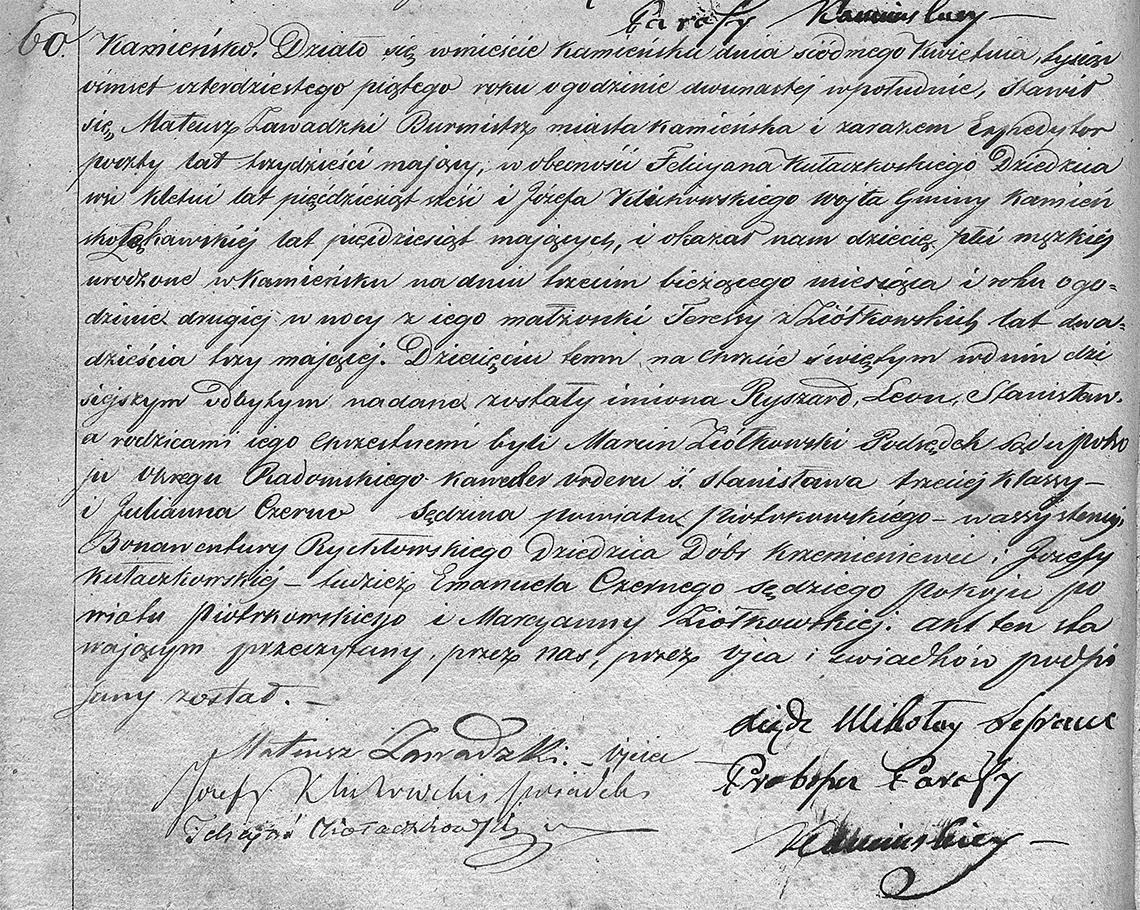 Akt stanu cywilnego urodzenia Ryszard Leon Stanisław Zawadzki 03.04.1845 r.