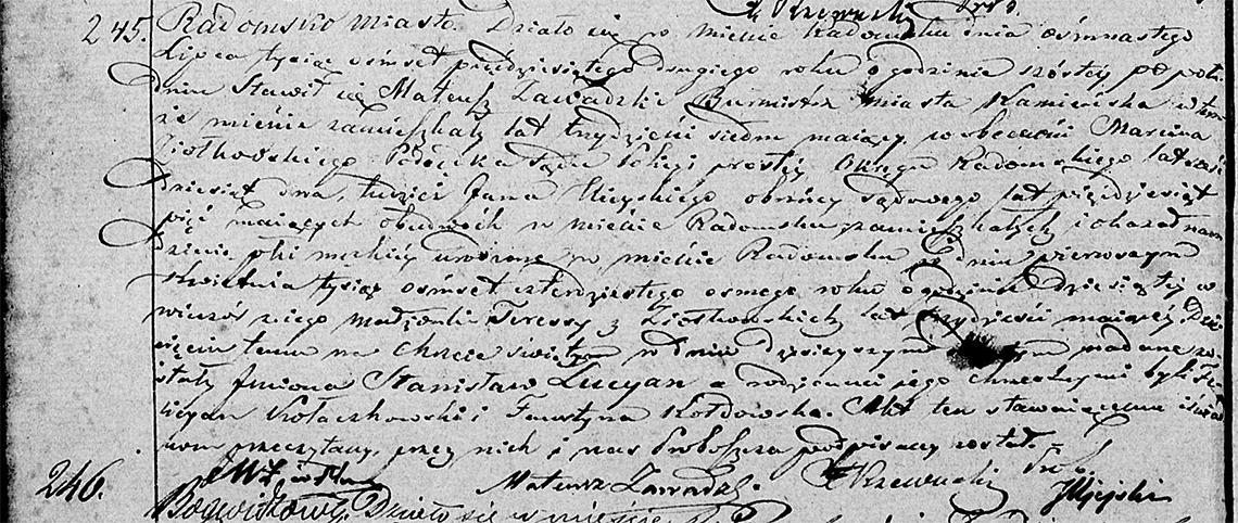 Akt stanu cywilnego urodzenia Stanisław Lucyan Zawadzki 01.04.1848 r.