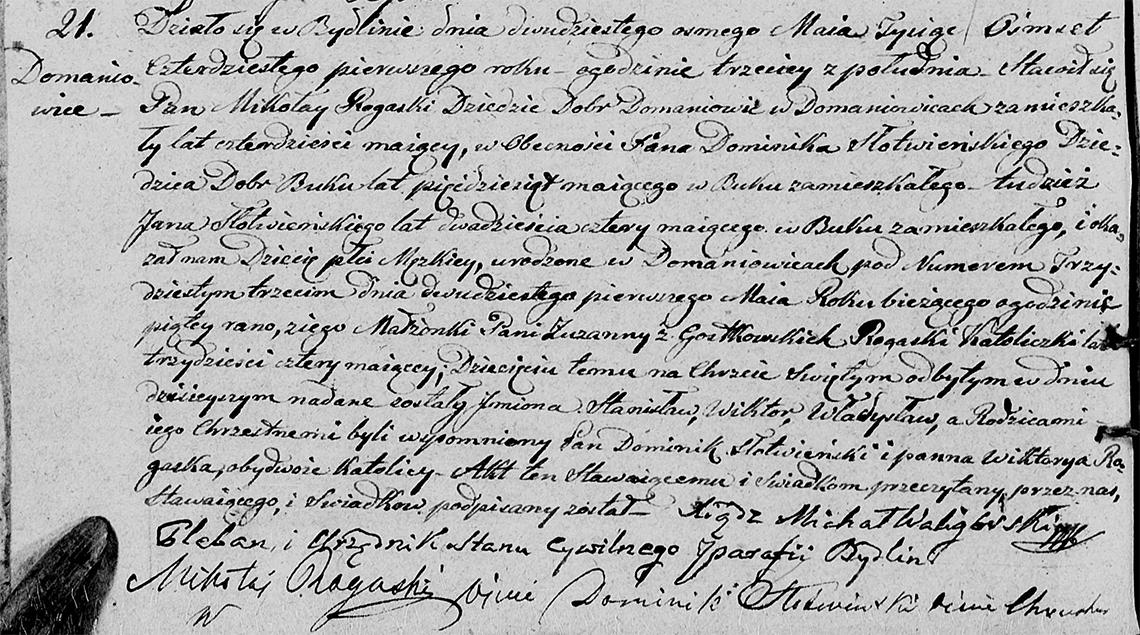 Akt stanu cywilnego urodzenia Stanisław Wiktor Władysław Rogaski 21.05.1841 r.