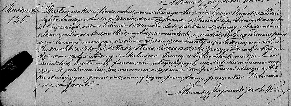 Akt stanu cywilnego zgonu Adolf Władysław Zawadzki 01.08.1863 r.