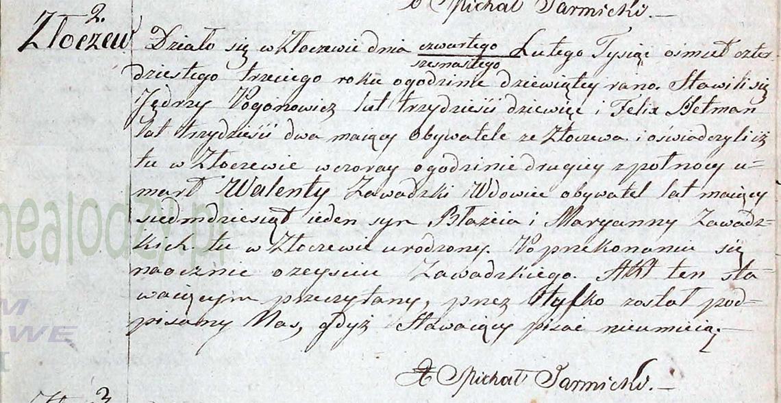 Akt stanu cywilnego zgonu Walenty Zawadzki 03/15.02.1843 r.