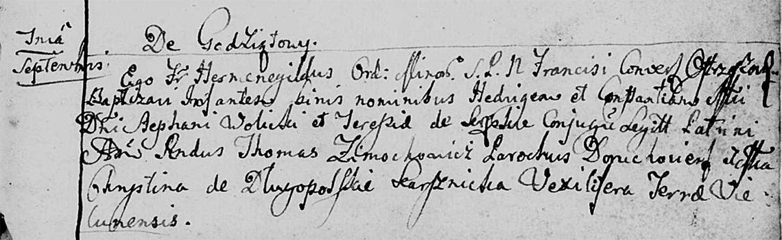 Akt metrykalny chrztu Jadwiga Konstancja Wolicka w dniu 07.10.1727 r.