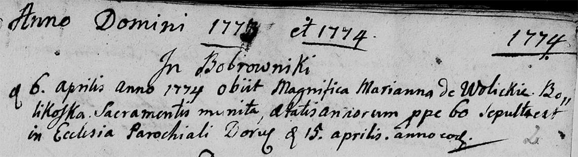 Akt metrykalny zgonu Marianna zd. Wolicka Bolikoska zm. 06.04.1774 r.