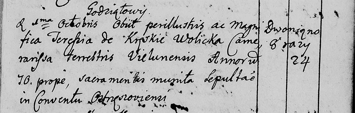 Akt metrykalny zgonu Teresa zd. Kręska Wolicka w dniu 01.10.1758 r.