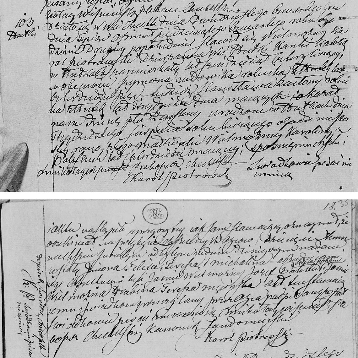 Akt stanu cywilnego urodzenia Felixa Teressa Michalina Piotrowska 30.08.1854 r.