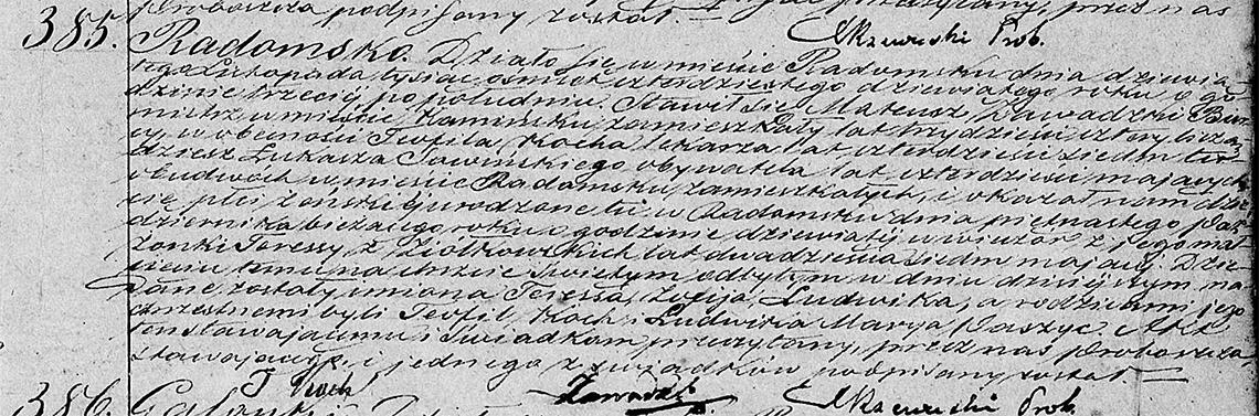Akt stanu cywilnego urodzenia Teressa Zofija Ludwika Zawadzka 15.10.1849 r.
