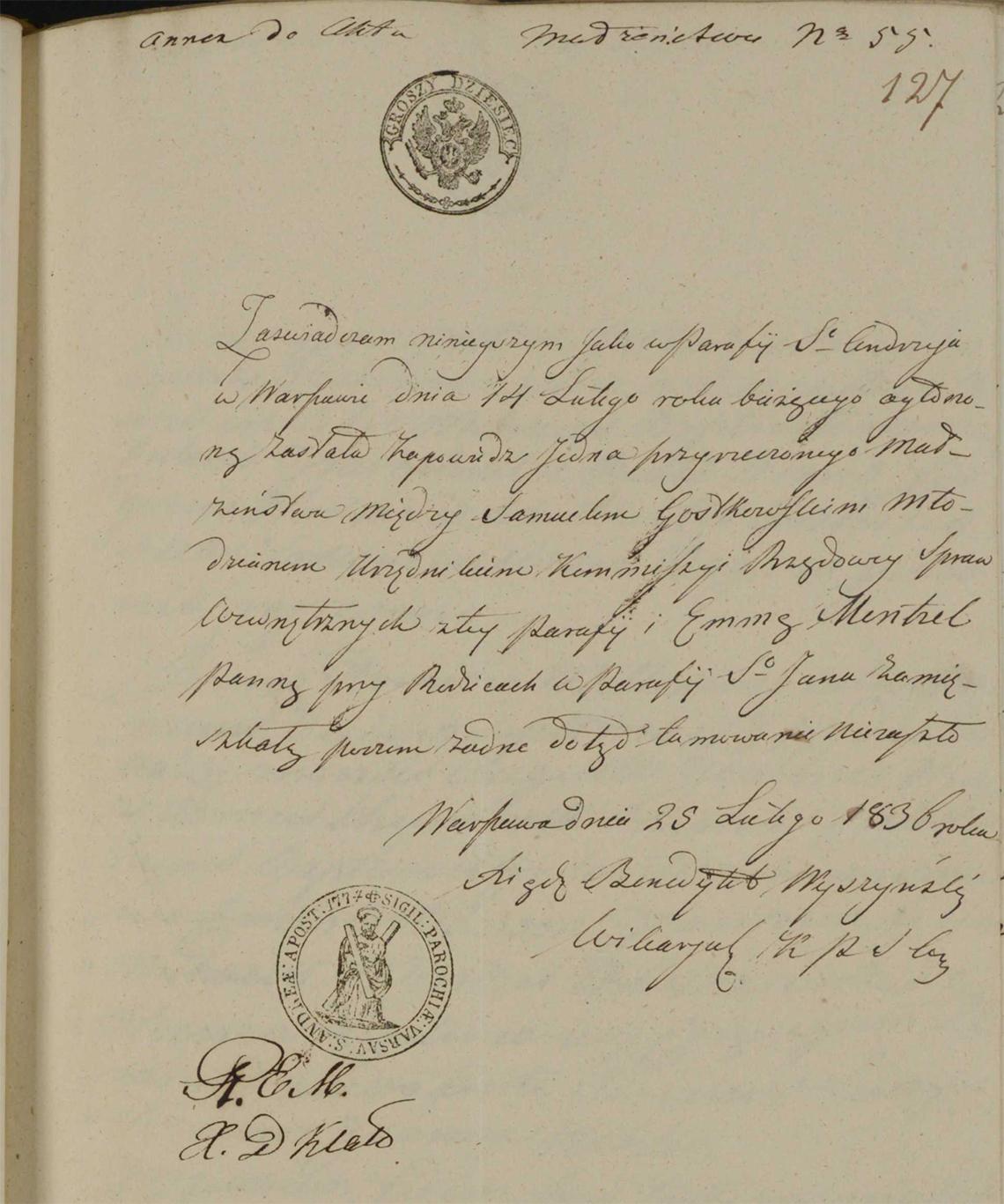 Aneksy do aktu małżeństwa Samuel Gostkowski & Emma Mentzel w dniu 04.04.1836 r. (aneks 2)