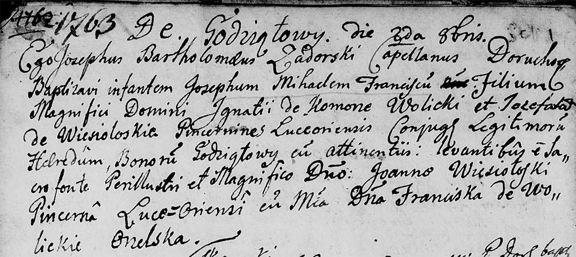 Akt metrykalny chrztu Józef Michał Franciszek Wolicki w dniu 02.10.1763 r.