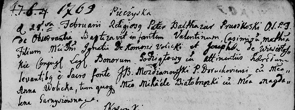 Akt metrykalny chrztu Walenty Kazimierz Maciej Wolicki w dniu 18.02.1765 r.