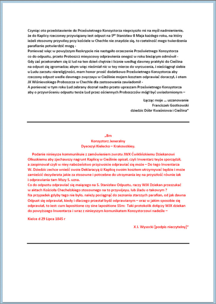 Przywrócenie odprawiania nabożeństw w kaplicy modrzewiowej w Cieślinie (korespondencja z okresu lipiec 1844 r. - maj 1847 r.) (3)