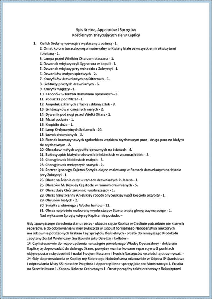 Przywrócenie odprawiania nabożeństw w kaplicy modrzewiowej w Cieślinie (korespondencja z okresu lipiec 1844 r. - maj 1847 r.) (5)