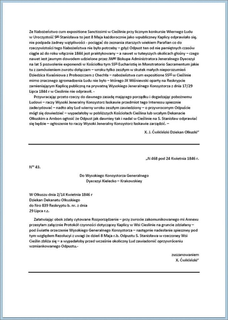 Przywrócenie odprawiania nabożeństw w kaplicy modrzewiowej w Cieślinie (korespondencja z okresu lipiec 1844 r. - maj 1847 r.) (7)
