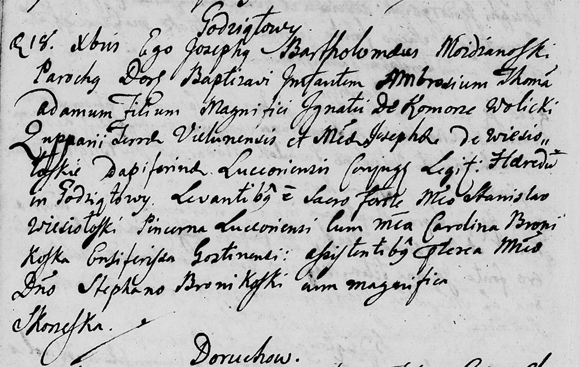 Akt metrykalny chrztu Ambroży Tomasz Adam Wolicki w dniu 18.12.1774 r.